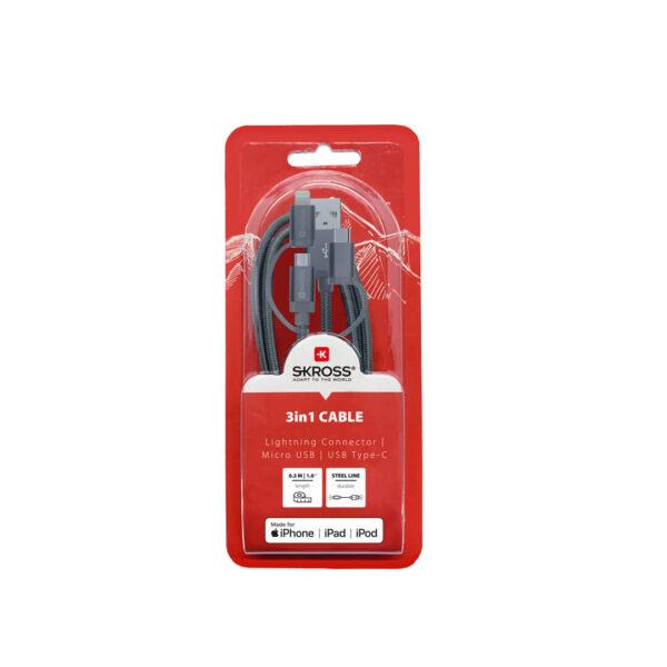 kabel 3w1 lightning micro usb typ c skross 03